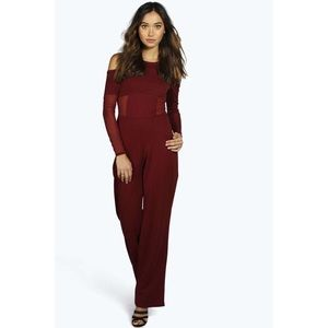 New with tags Mya Mesh Cold Shoulder Jumpsuit